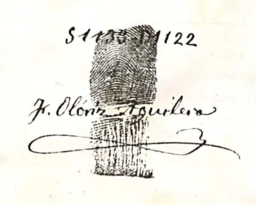 Huella dactilar de Federico Olóriz junto con su clasificación